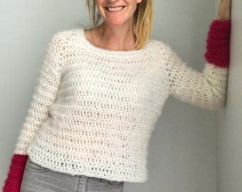 Hot Fluff Jumper - Crochet Pattern - 8 Sizes XS-4XL - Instant PDF Download