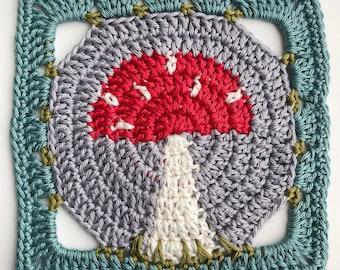 Toadstool Square - Crochet Pattern PDF - Granny Square Afghan Block