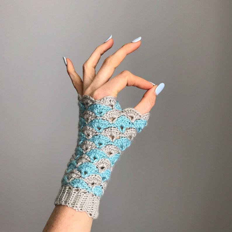 Shell We Dance Fingerless Gloves  Crochet Pattern  PDF  image 0