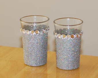 Silver Holographic Glittered Shot Glass with Rhinestones