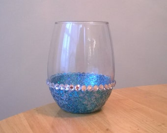 Silver and Blue Holographic Glittered Stemless Wine Glass with Rhinestone Accents