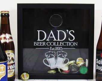Beer Shadow Box-Beer Gifts-Bar Accessories-Collectors Box-Fathers Day-Keepsake Box-Home Bar-Craft Beer Cap Box