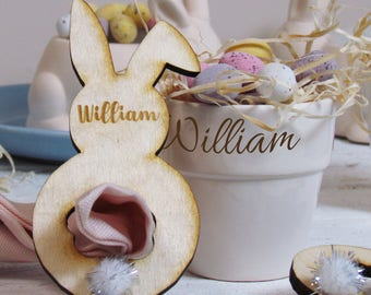 Personalised Easter Bunny Napkin Rings, Table Place Names, Easter Table Decorations, Bunny Napkin Rings
