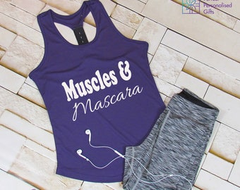 Muscles & Mascara Gym Tank, Gym Top, Workout Tank Shirt, Funny Gym Shirt, Fitness Gym Tank Top, Workout Clothes, Yoga Exercise Tank, Womens