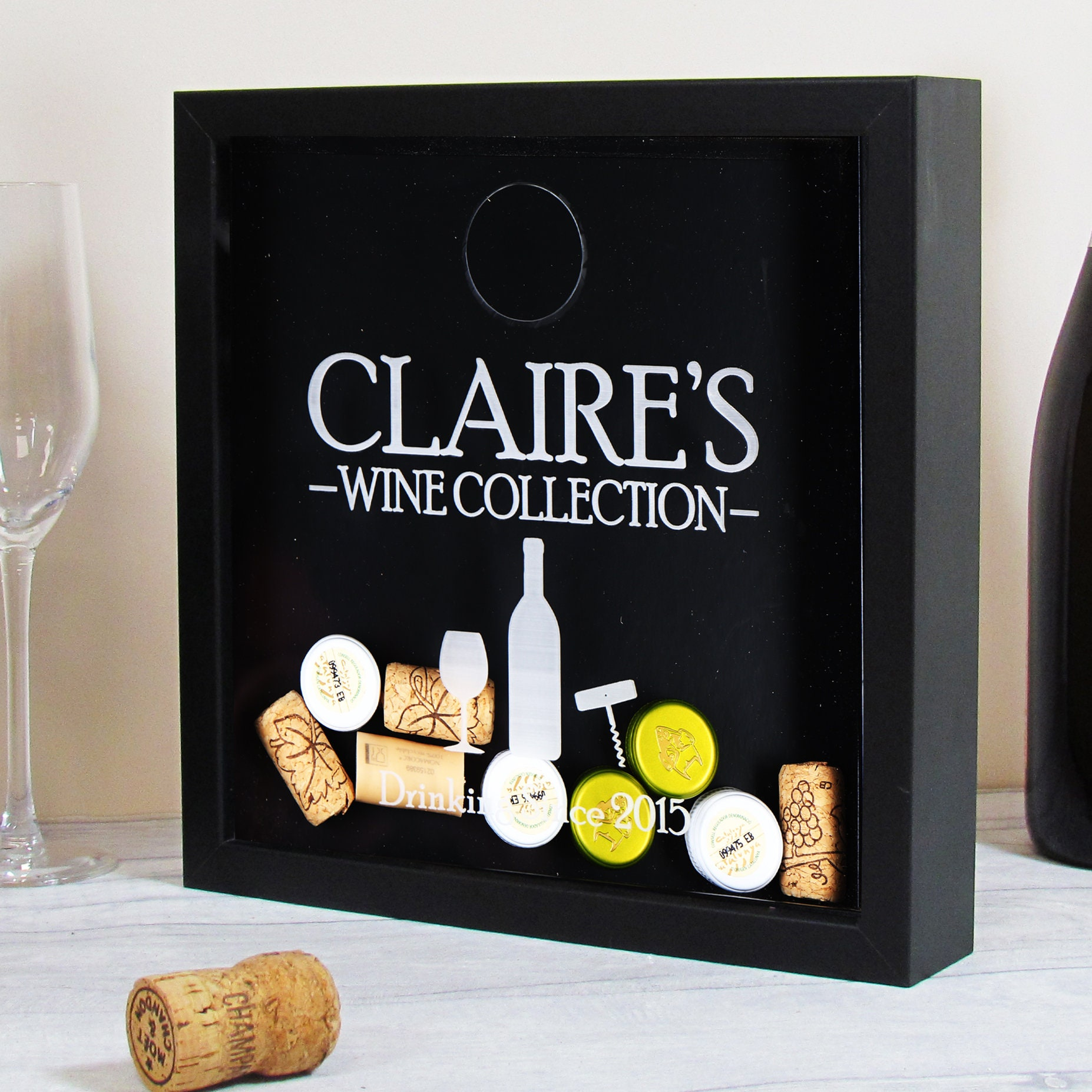 Cork Halter-Wein Shadow Box-Wein Kork Shadow Box
