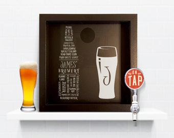 Beer Collection-Shadow Box-Bar Accessories-Beer Gifts-Home Bar-Man Cave-Beer Lover-Craft Beer Box-Beer Cap Art-Craft Beer-Beer Caps