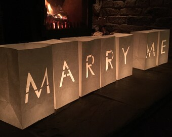 Marry Me Candle Bag Lanterns-Proposal-Marry Me-Marriage Proposal-Engagement-Proposal Ideas-Marry Me Sign