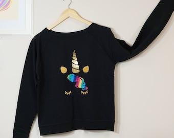 Unicorn Sweatshirt, Slouchy Sweater, Unicorn Gift, Unicorn Sweater, Unicorn Clothes, Womens Gift, Womens Sweatshirt, Unicorn Lover