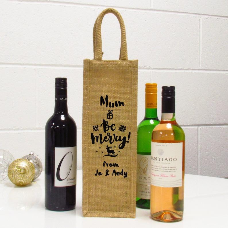 & Christmas single bottle wine gift bag jute christmas bag wine | Etsy