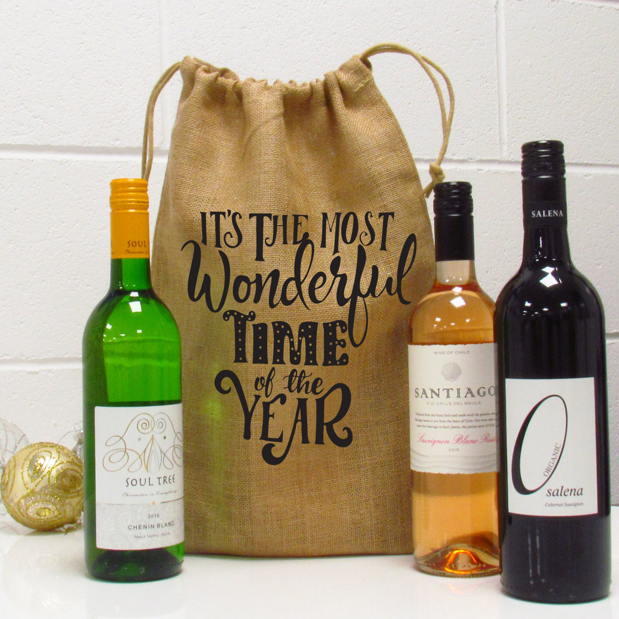 Most Wonderful Time Of The Year Christmas Wine Gift Bag   Etsy