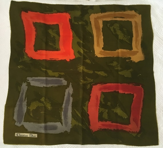 CHRISTIAN  DIOR authentic 1950's abstract SCARF