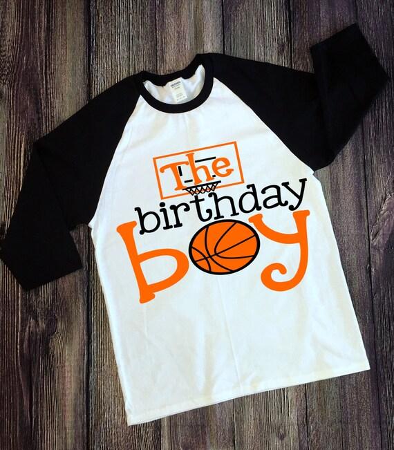 edb36d25d97f Birthday boy basketball sports ball Birthday T Shirt Raglan