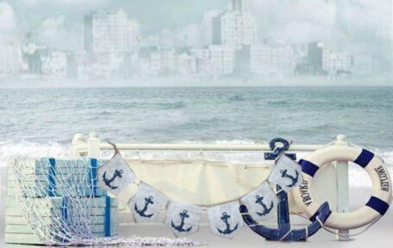 Birthday Shower Nursery Burlap Banner CHEVRON  Nautical Signs Party signs