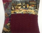 Burgundy Cushion, Needlepoint Cushion, Recycled Sweater Cushion, Patchwork Cushion, Corduroy Shirt Cushion, Upcycled Cushion, Sugar Cabin
