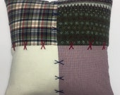 Red Cushion, Green Cushion, Needlepoint Cushion, Recycled Sweater Cushion, Patchwork Cushion, Flannel Shirt Cushion, Upcycled Cushion