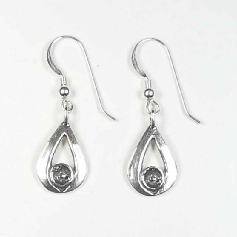 Metallic Silver Teardrop Earrings Hollow Tear Drop Jewelry for Women Silver Dangle Drop Earrings Silver Drops Mom Gift