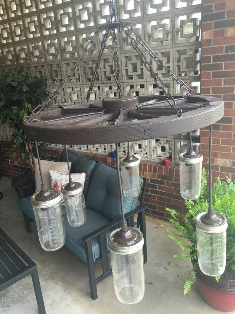 Wagon Wheel Chandelier With Mason Jar Lights