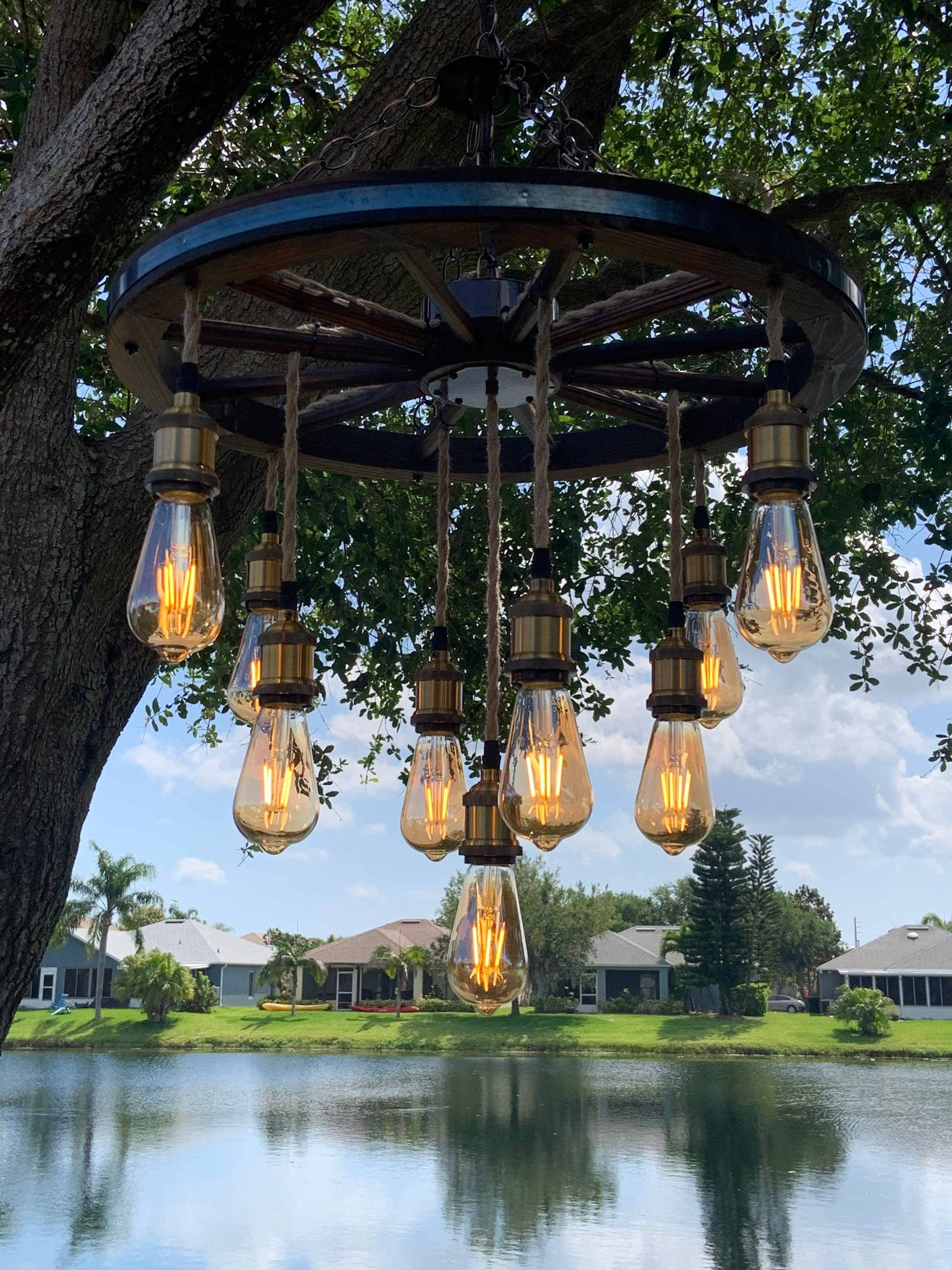 Wagon Wheel Chandelier with 3 tiers of Vintage Rope Lights
