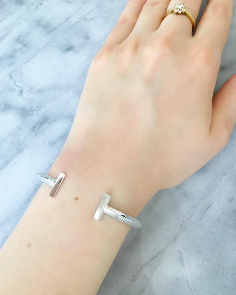 Double Bar Bracelet Open Bar Bracelet Double T Bracelet Parallel Bar Cuff T Bracelet Sterling Silver T Bar Bracelet Cuff Bracelet