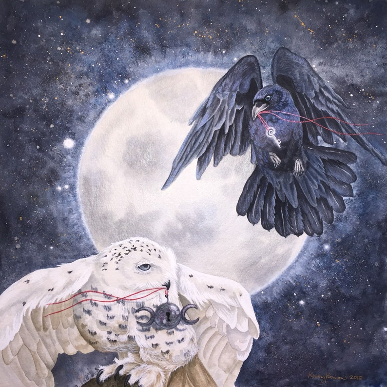 Arianrhod and Morrigan - Watercolor Giclee Print - 8 x 8 - White Owl and  Raven - Celtic Mythology
