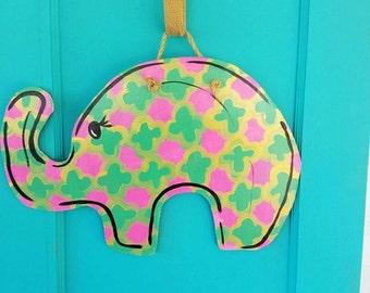 Wooden Elephant Doorhanger