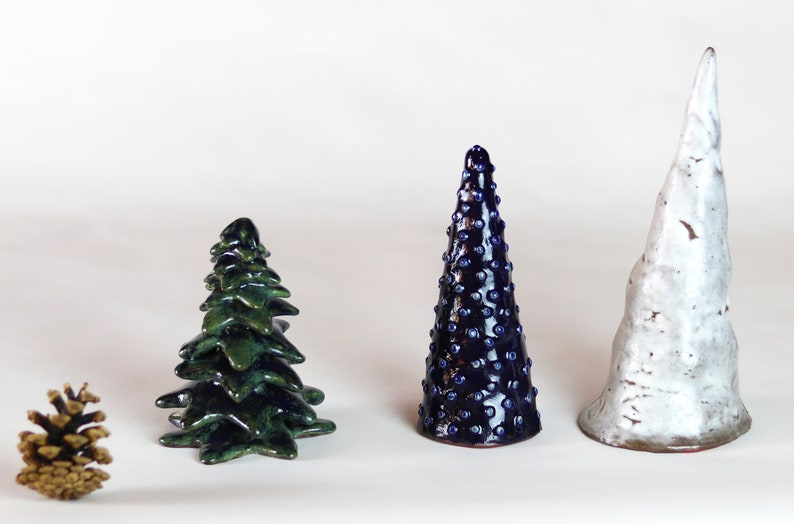 Ceramic Christmas Tree For Table Centerpiece Or Nativity Scene Hand Made Present Craft Decoration For Home