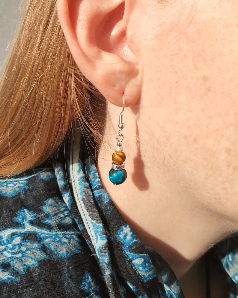 Tigers Eye Earrings 925 Silver Natural Gemstone Boho Jewelry Gold Blue Turquoise Round Beads Colourful Dangle