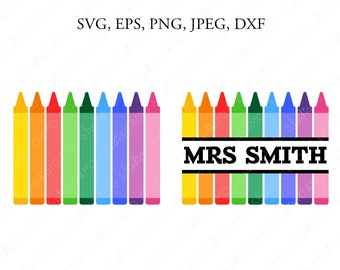12 crayon svgs digital download 11 color names and 1 blank