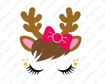 Reindeer SVG, Reindeer Head Svg, Reindeer Clip Art, Reindeer Face SVG, Christmas SVG, Christmas Reindeer, Cricut, Silhouette Cut File