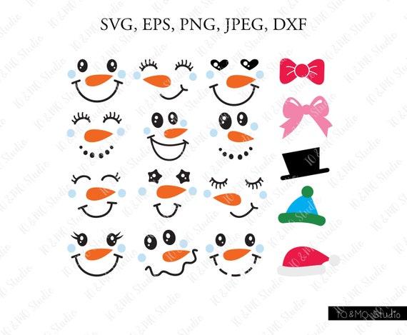 Snowman Faces Svg Christmas Snowman Svg Christmas Clip Art Etsy