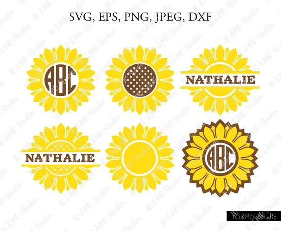 Sunflower monogram svg summer flower cut file for silhouette or cricut