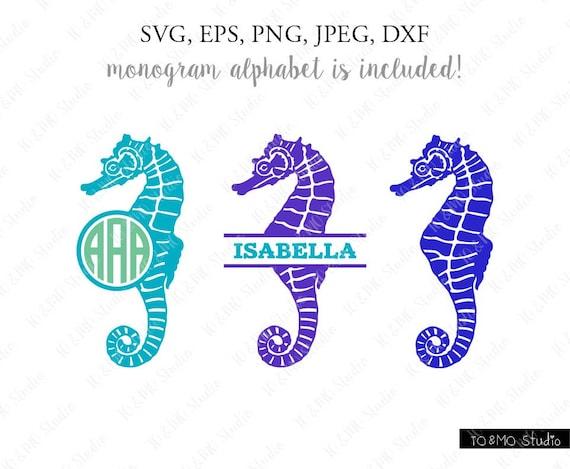 Seahorse Svg Seahorse Monogram Svg Monogram Svg Sea Clipart Etsy