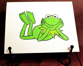 Kermit card etsy kermit the frog card add a greeting or leave blank m4hsunfo