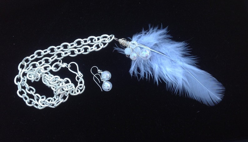 Angel White Feather Necklace Angel Aura Power Necklace Galadriel Warrior of  Light LOTR Necklace