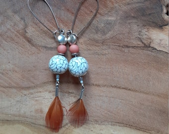 """Boho earrings """"lace and feather"""""""