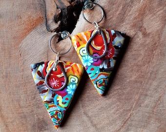 Original multicolored pep and drop earrings