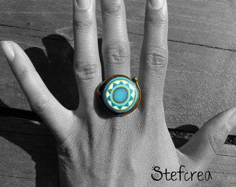 """Original metal ring and polymer """"blue lagoon"""" support aged matte aged"""