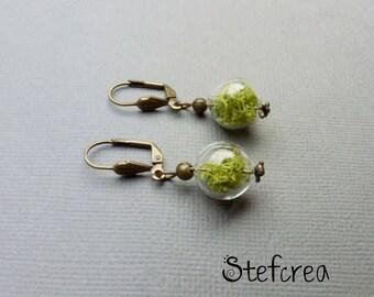 """Bronze earrings """"foam ball"""" glass"""