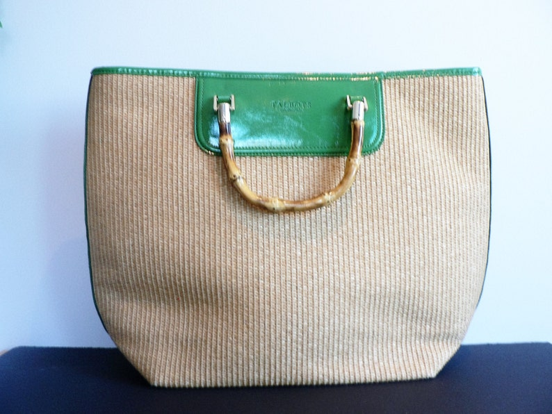 66bb94c7a2 Vintage 90 s Talbots Woven Hand Bag with Bamboo Handles
