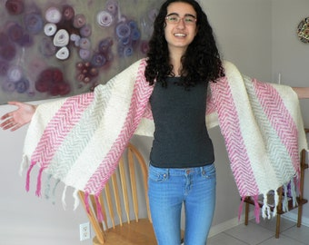Cream Pink Mohair Wool Blend Shawl Scarf