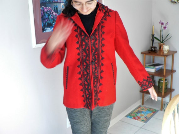 Romanian Folk Red Woolen Coat with Black Embroider