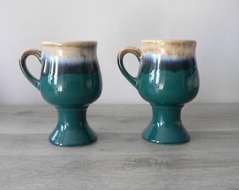 Studio Pedestal Turquoise Tan Stoneware Mugs - Drip Glaze Coffee Mugs / Cups Pair