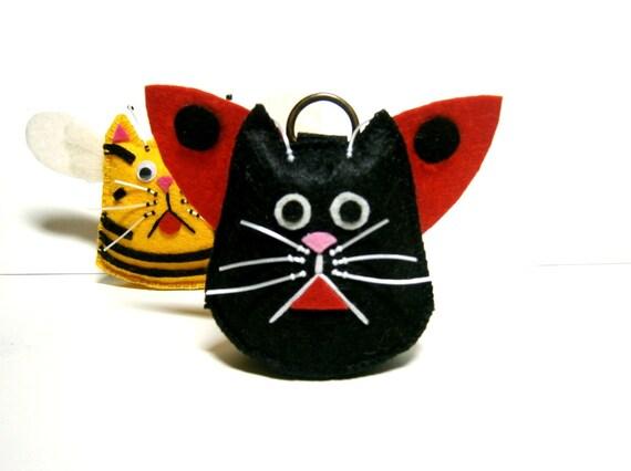 Felt Black Cat Brelok Do Motyli Czarny Kot Uchwyt Na Etsy