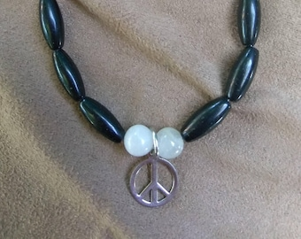 Black Onyx Bracelet with Peace Sign
