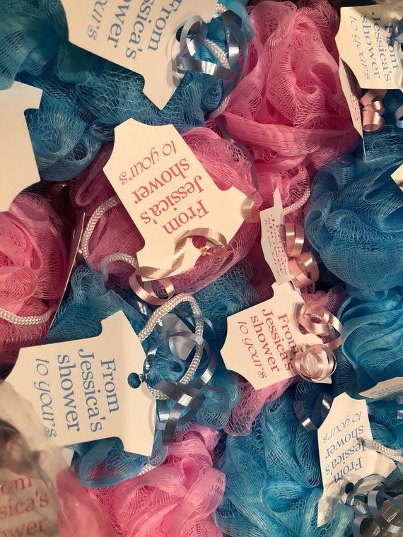 Baby Shower Favor Bath Poufs Loofah Sponges And Tags Etsy Gorgeous Mini Loofah Poufs