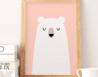 Bear wall art, Pink wall decor, Pink print, Nursery wall art, Cute wall decor, White bear, White bear decor, Baby room decor, Nursery prints
