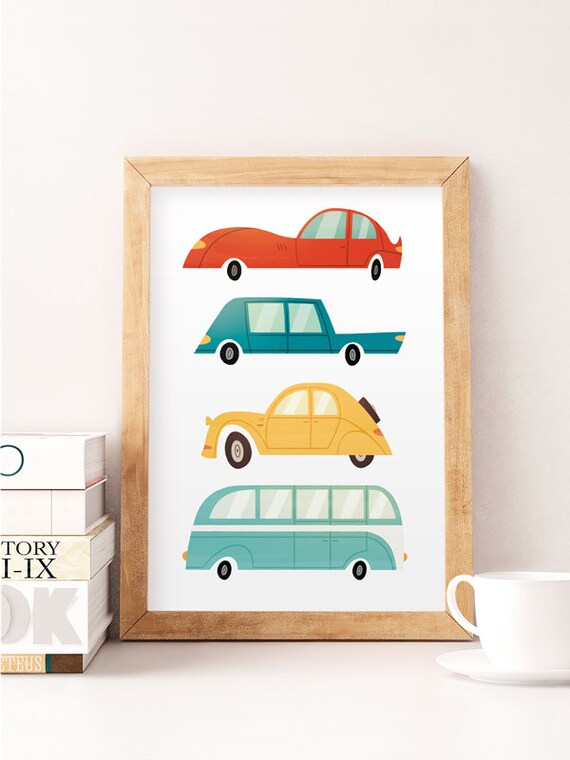 Cars wall art Kids cars print Children wall decor Wacky | Etsy