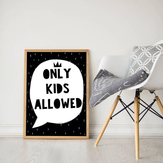 Only Kids Allowed Quote Kids Room Decor Playroom Wall Art | Etsy