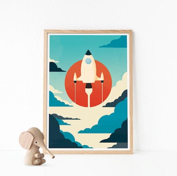 Space Print Spaceship Art Nursery Wall Art Nursery Wall | Etsy
