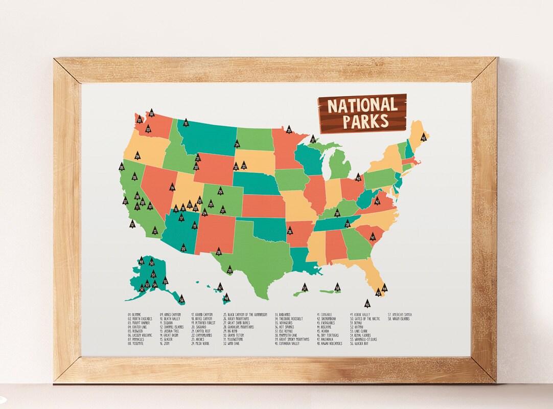 National parks National parks print Kids room decor USA | Etsy